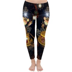 Steampunk, Funny Monkey With Clocks And Gears Winter Leggings