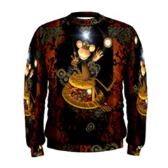 Steampunk, Funny Monkey With Clocks And Gears Men s Sweatshirts