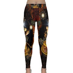 Steampunk, Funny Monkey With Clocks And Gears Yoga Leggings