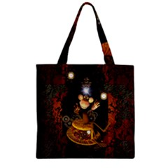 Steampunk, Funny Monkey With Clocks And Gears Zipper Grocery Tote Bags