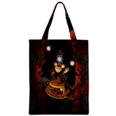 Steampunk, Funny Monkey With Clocks And Gears Zipper Classic Tote Bags