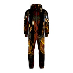 Steampunk, Funny Monkey With Clocks And Gears Hooded Jumpsuit (Kids)
