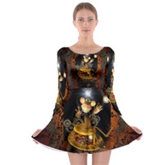 Steampunk, Funny Monkey With Clocks And Gears Long Sleeve Skater Dress