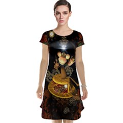 Steampunk, Funny Monkey With Clocks And Gears Cap Sleeve Nightdresses