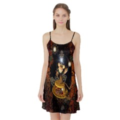 Steampunk, Funny Monkey With Clocks And Gears Satin Night Slip