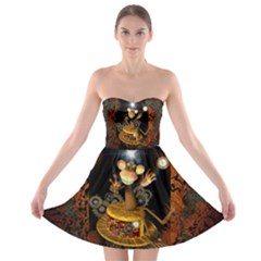 Steampunk, Funny Monkey With Clocks And Gears Strapless Bra Top Dress