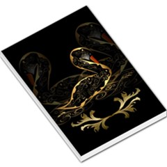 Wonderful Swan In Gold And Black With Floral Elements Large Memo Pads