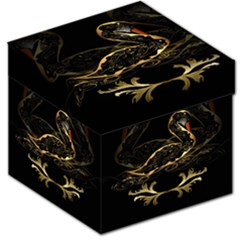 Wonderful Swan In Gold And Black With Floral Elements Storage Stool 12