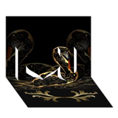 Wonderful Swan In Gold And Black With Floral Elements I Love You 3d Greeting Card (7x5)