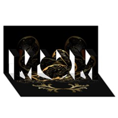 Wonderful Swan In Gold And Black With Floral Elements MOM 3D Greeting Card (8x4)