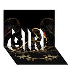 Wonderful Swan In Gold And Black With Floral Elements GIRL 3D Greeting Card (7x5)