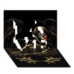 Wonderful Swan In Gold And Black With Floral Elements Love 3d Greeting Card (7x5)