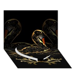 Wonderful Swan In Gold And Black With Floral Elements Heart Bottom 3D Greeting Card (7x5)
