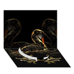 Wonderful Swan In Gold And Black With Floral Elements Circle Bottom 3D Greeting Card (7x5)