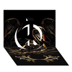 Wonderful Swan In Gold And Black With Floral Elements Peace Sign 3d Greeting Card (7x5)