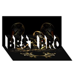 Wonderful Swan In Gold And Black With Floral Elements BEST BRO 3D Greeting Card (8x4)