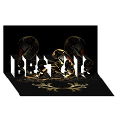 Wonderful Swan In Gold And Black With Floral Elements BEST SIS 3D Greeting Card (8x4)