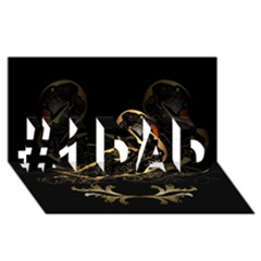 Wonderful Swan In Gold And Black With Floral Elements #1 DAD 3D Greeting Card (8x4)