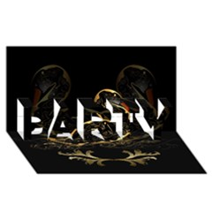 Wonderful Swan In Gold And Black With Floral Elements PARTY 3D Greeting Card (8x4)