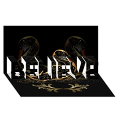 Wonderful Swan In Gold And Black With Floral Elements BELIEVE 3D Greeting Card (8x4)