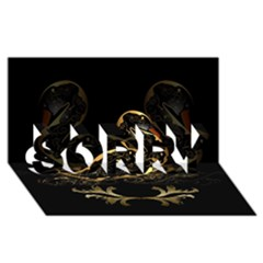 Wonderful Swan In Gold And Black With Floral Elements Sorry 3d Greeting Card (8x4)