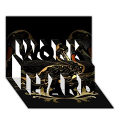 Wonderful Swan In Gold And Black With Floral Elements Work Hard 3d Greeting Card (7x5)