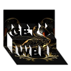 Wonderful Swan In Gold And Black With Floral Elements Get Well 3d Greeting Card (7x5)