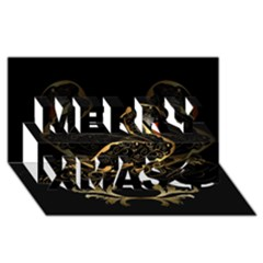 Wonderful Swan In Gold And Black With Floral Elements Merry Xmas 3D Greeting Card (8x4)