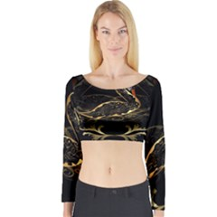 Wonderful Swan In Gold And Black With Floral Elements Long Sleeve Crop Top