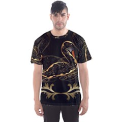Wonderful Swan In Gold And Black With Floral Elements Men s Sport Mesh Tees
