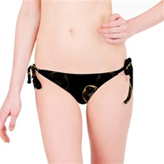 Wonderful Swan In Gold And Black With Floral Elements Bikini Bottoms