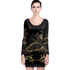 Wonderful Swan In Gold And Black With Floral Elements Long Sleeve Bodycon Dresses