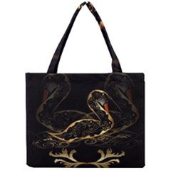 Wonderful Swan In Gold And Black With Floral Elements Tiny Tote Bags
