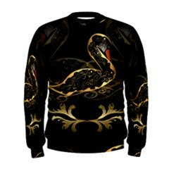 Wonderful Swan In Gold And Black With Floral Elements Men s Sweatshirts