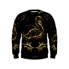 Wonderful Swan In Gold And Black With Floral Elements Boys  Sweatshirts