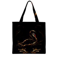 Wonderful Swan In Gold And Black With Floral Elements Zipper Grocery Tote Bags