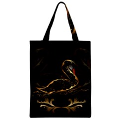 Wonderful Swan In Gold And Black With Floral Elements Zipper Classic Tote Bags