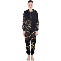 Wonderful Swan In Gold And Black With Floral Elements Hooded Jumpsuit (Ladies)