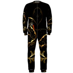 Wonderful Swan In Gold And Black With Floral Elements OnePiece Jumpsuit (Men)