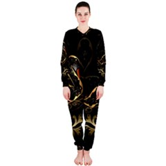 Wonderful Swan In Gold And Black With Floral Elements Onepiece Jumpsuit (ladies)