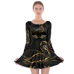 Wonderful Swan In Gold And Black With Floral Elements Long Sleeve Skater Dress