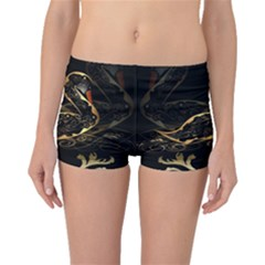 Wonderful Swan In Gold And Black With Floral Elements Boyleg Bikini Bottoms
