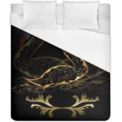 Wonderful Swan In Gold And Black With Floral Elements Duvet Cover Single Side (double Size)
