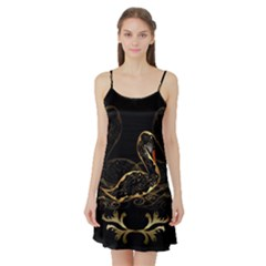 Wonderful Swan In Gold And Black With Floral Elements Satin Night Slip