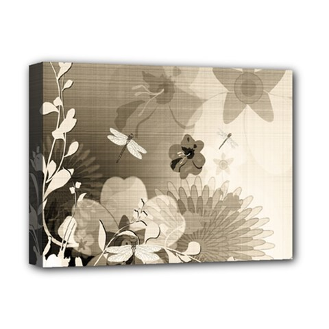 Vintage, Wonderful Flowers With Dragonflies Deluxe Canvas 16  x 12