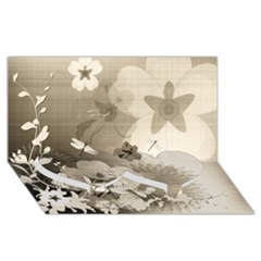 Vintage, Wonderful Flowers With Dragonflies Twin Heart Bottom 3D Greeting Card (8x4)