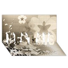 Vintage, Wonderful Flowers With Dragonflies Best Sis 3d Greeting Card (8x4)
