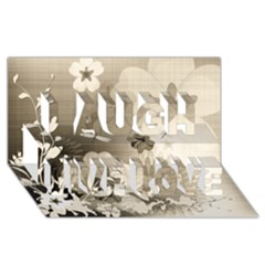 Vintage, Wonderful Flowers With Dragonflies Laugh Live Love 3d Greeting Card (8x4)