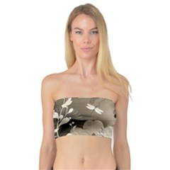 Vintage, Wonderful Flowers With Dragonflies Women s Bandeau Tops