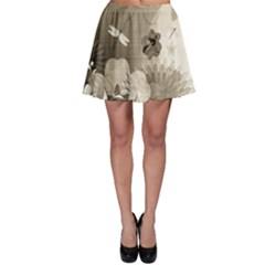 Vintage, Wonderful Flowers With Dragonflies Skater Skirts